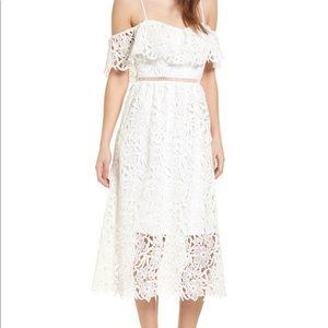 ASTR Label Lace Off the Shoulder Midi Dress